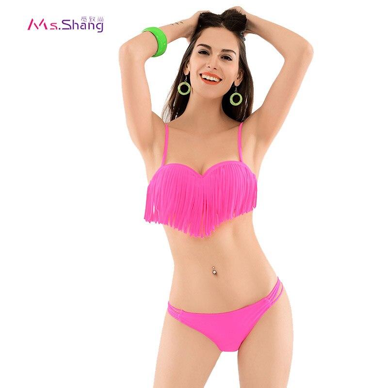 e360f8f3e8 Bikinis Women 2017 Swimwear Female Sexy Bikini Push Up Padded Fringe Tassel  Bikini Set Swimsuit Thong Bathing Suit Black Tankini