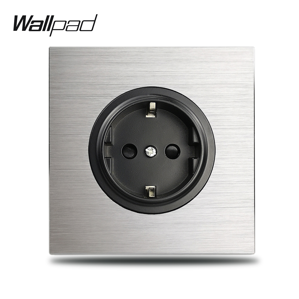 Wallpad L6 Grey Single 16A EU Wall Electric Socket Silver Aluminum Plate 1 Gang Power Outlet Brushed Metal Panel