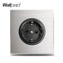 Wallpad – prise électrique murale L6 grise, simple, 16A, EU, plaque en aluminium argenté, 1 Gang, panneau en métal brossé