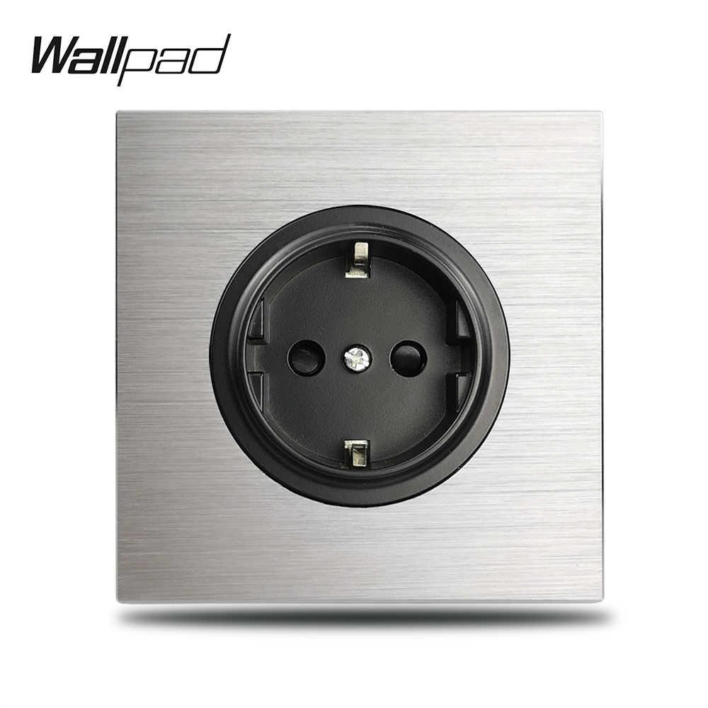 Wallpad L6 szary pojedynczy 16A ue ścienny gniazdko elektryczne srebrna aluminiowa płyta 1 Gang listwa sieciowa szczotkowany metalowy panel