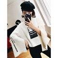 [XITAO] 2016 Корея мода женщин широкий длинный рукав печати письмо свитер случайные женщины водолазка пуловер вязание HYX010