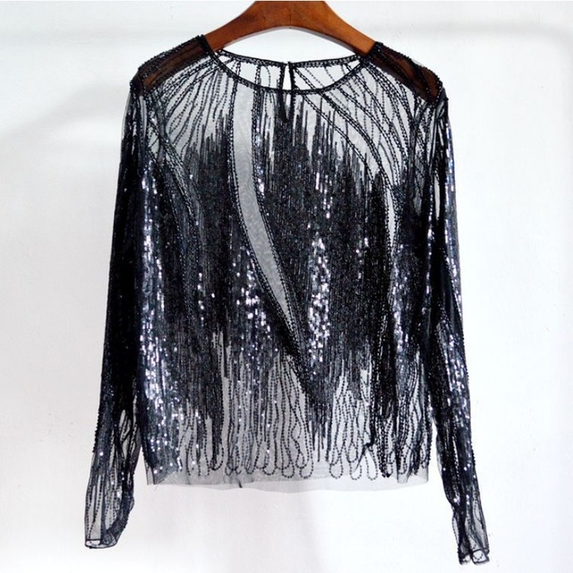 2018 Women s Fashion O-Neck Long Sleeve Perspective Mesh Lace Tops Beading  Sequins Blouse Tops Women 2Color e78eaca4f691