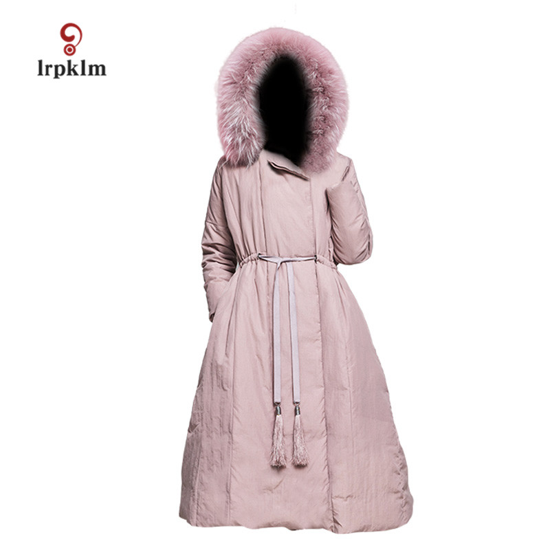 2017 New Women Winter Long   Down   Jackets With Fur Hooded Collar Female Warm Duck   Down     Coat   Slim Waist Grey Pink PQ088