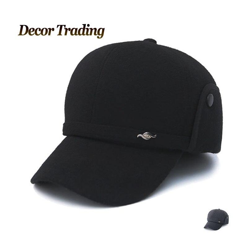 waterproof baseball cap with ear flaps wool hat winter new warm font