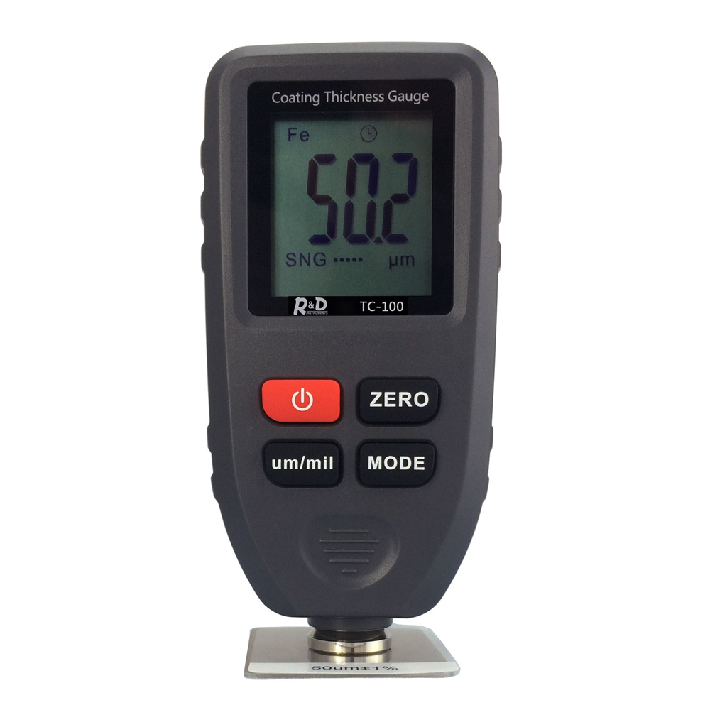 TC-100 Digital Paint Coating Thickness Gauge Thickness Meter with LCD Display Electroplate Feeler Tester Fe/NFe 0-1.25mm rm660 mini digital auto paint coating thickness gauge lcd feeler meter tester fe nfe 0 1 25mm for automotive car instrument