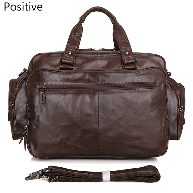 Men's genuine leather briefcase 16″ Big real leather laptop tote bag Cow leather business bag double layer messenger bag