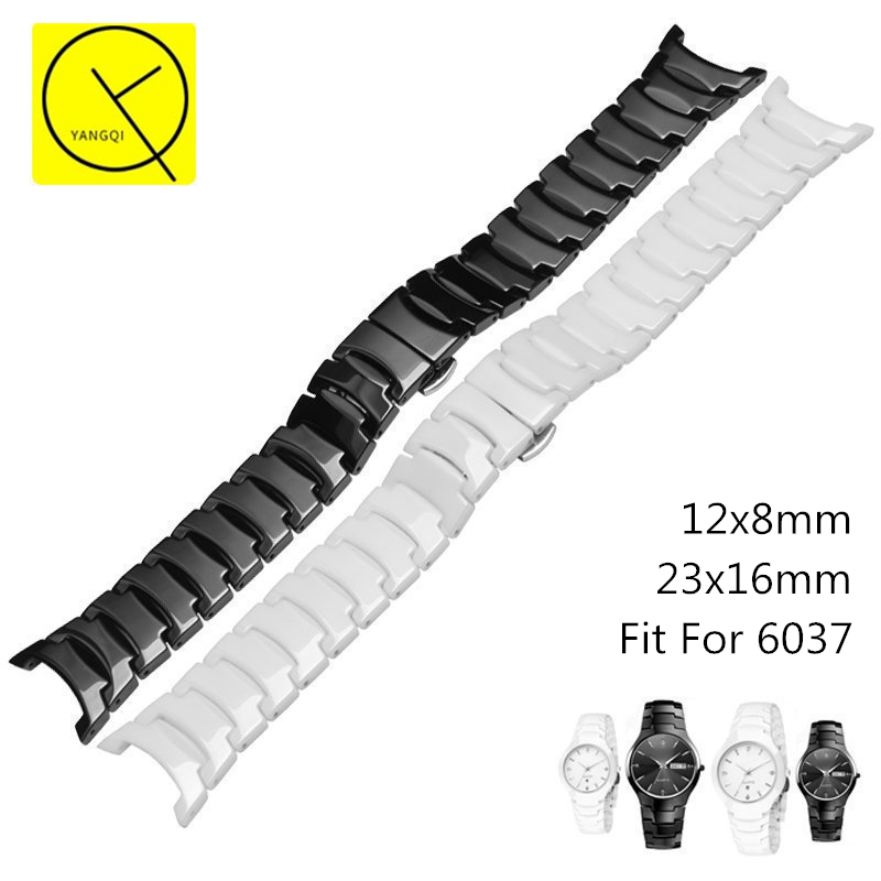 High-Quality Ceramic WatchBand for Rado 6037 Man Woman Watch Bracelet Stainless Steel Butterfly Buckle 23mm 12mm Strap+Free Tool mr froger carcharodon megalodon model giant tooth shark sphyrna aquatic creatures wild animals zoo modeling plastic sea lift toy