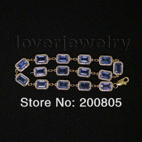 Solid 14Kt Yellow Gold Bracelet,Real Diamond Bule Sapphire Bracelet,Gemstone Bracelet Bangle Emerald Cut 4x6mm For Women NA2 цена 2017