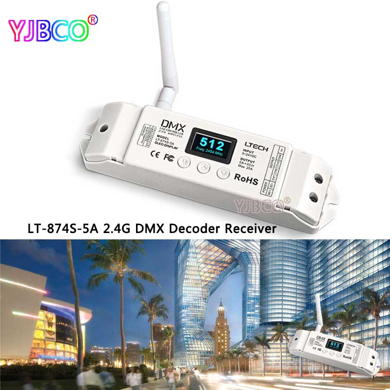 2.4G Wireless controller LT-870S DMX512 transceiver LT-874S-5A 4 CH DMX Decoder OLED Display for LED RGBW Strip led constant voltage dmx pwm decoder dimmer lt 820 5a 8 16 bits optional oled display 4channel 5a 4channel max 20a output