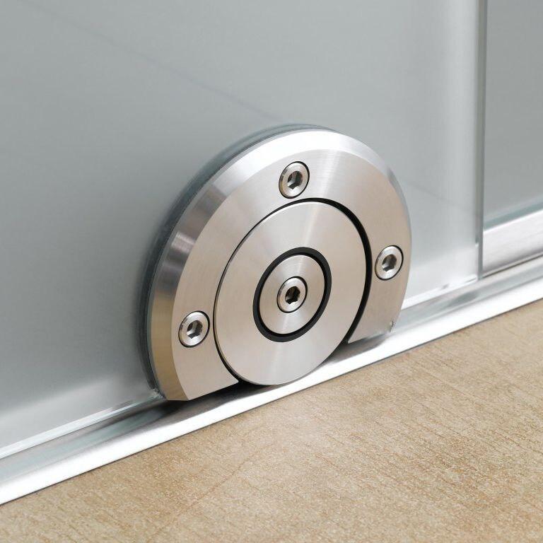 Frameless Sliding Glass Door Bottom Floor Guide Two-sided Sytem With Centrally Placed Roller