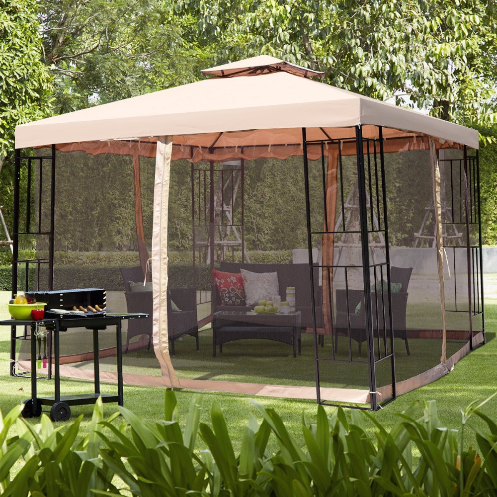 Giantex 10X10ft Metal Gazebo W/ Mosquito Netting Canopy Gazebo 2 Tier Vented Gazebo Top Outdoor Furniture OP3619