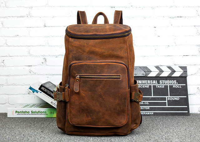 New Fashion Square Unique Design Brand Laptop Backpack Men Manual Business Genuine Leather Computer Backpacks Man