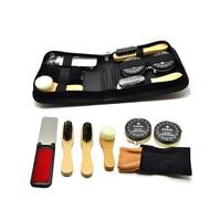 Shoe Care Kit Polish Brush Sponge Leather Shoes Cleanning Tools Wooden Brush For Travel