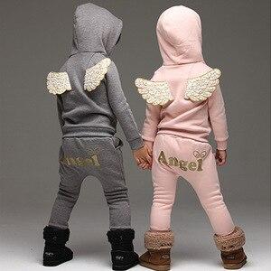 Image 3 - V TREE crianças conjunto de roupas de lã terno esportivo para o menino inverno ternos da criança para meninas asas crianças agasalho traje da escola do bebê