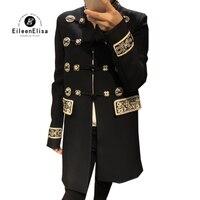 Осенняя куртка для женщин длинное пальто черное 2018 новые модные женские Роскошные Одежда