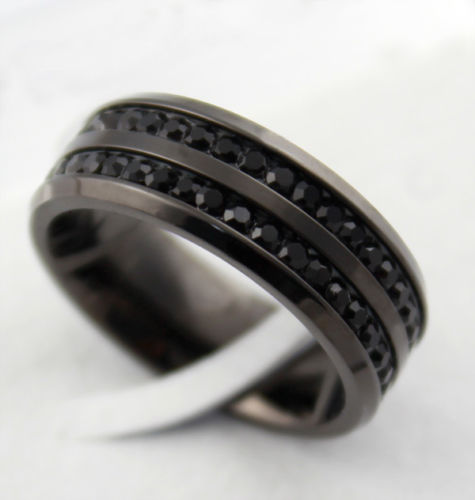 2015 new rhinestone stainless steel men rings classic mens for Mens stainless steel wedding rings