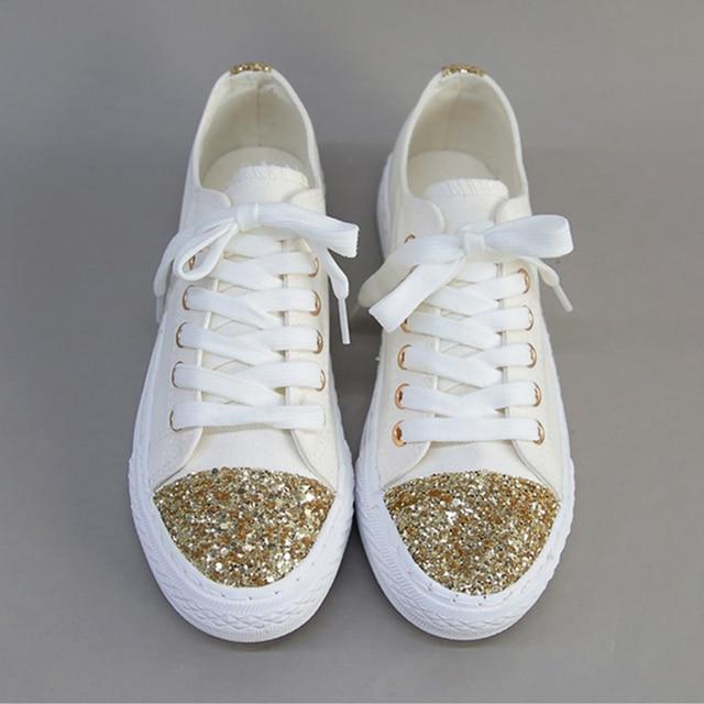 Summer Canvas scarpe Powder oro Powder scarpe Bling Low Top Casual Donna'S Flat   5436da