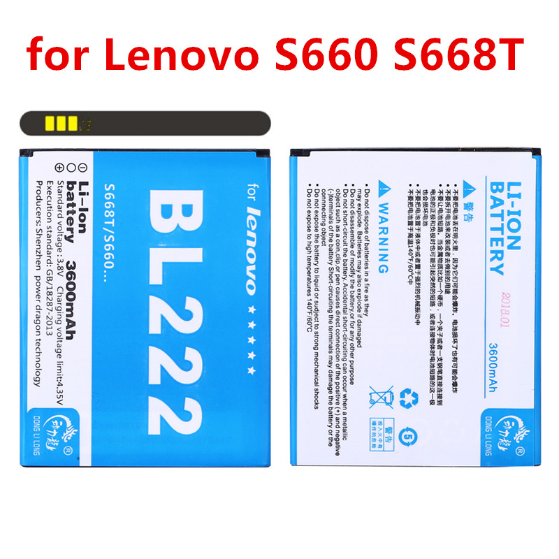NEW DLL 3600mAh <font><b>BL</b></font>-<font><b>222</b></font> BL222 Battery for Lenovo S660 S668T Replacement batteries image