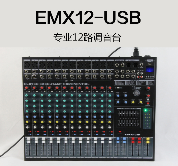 Professional 12 Channel Mixing Console Audio Sound Mixer EMX12