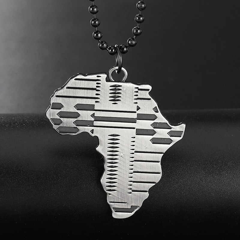 เงินสีดำแอฟริกาแผนที่ผู้ชายสร้อยคอ Hip Hop เครื่องประดับ Collier สร้อยคอจี้ 70 เซนติเมตรลูกปัดแฟชั่นเครื่องประดับบุรุษ kolye