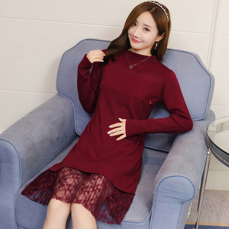 KINE PANDA Pregnancy Clothes for Pregnant Women Maternity Dresses Autumn Winter Korean Long Sweater Lace Breastfeeding Dress