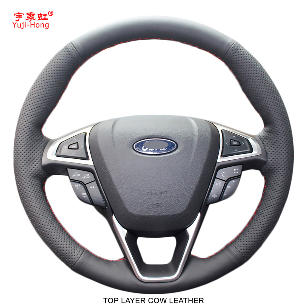 Yuji-Hong Top Layer Cow Leather Car Steering Wheel Covers Case for Ford Mondeo 2013 Edge 2014 Car Styling Hand-stitched Cover senior luxury hand knitted bv style car steering wheel cover for mini cooper