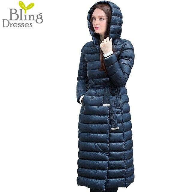 Снег Зима Пуховик Женщин Пальто Куртка 90% Белый утка Вниз с Поясом Более Коленных Женщин С Капюшоном Двубортный куртки