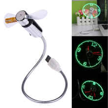 Creative Hot selling USB Mini Flexible Time LED Clock Fan with LED Light Cool Gadget USB Fan Wholesale