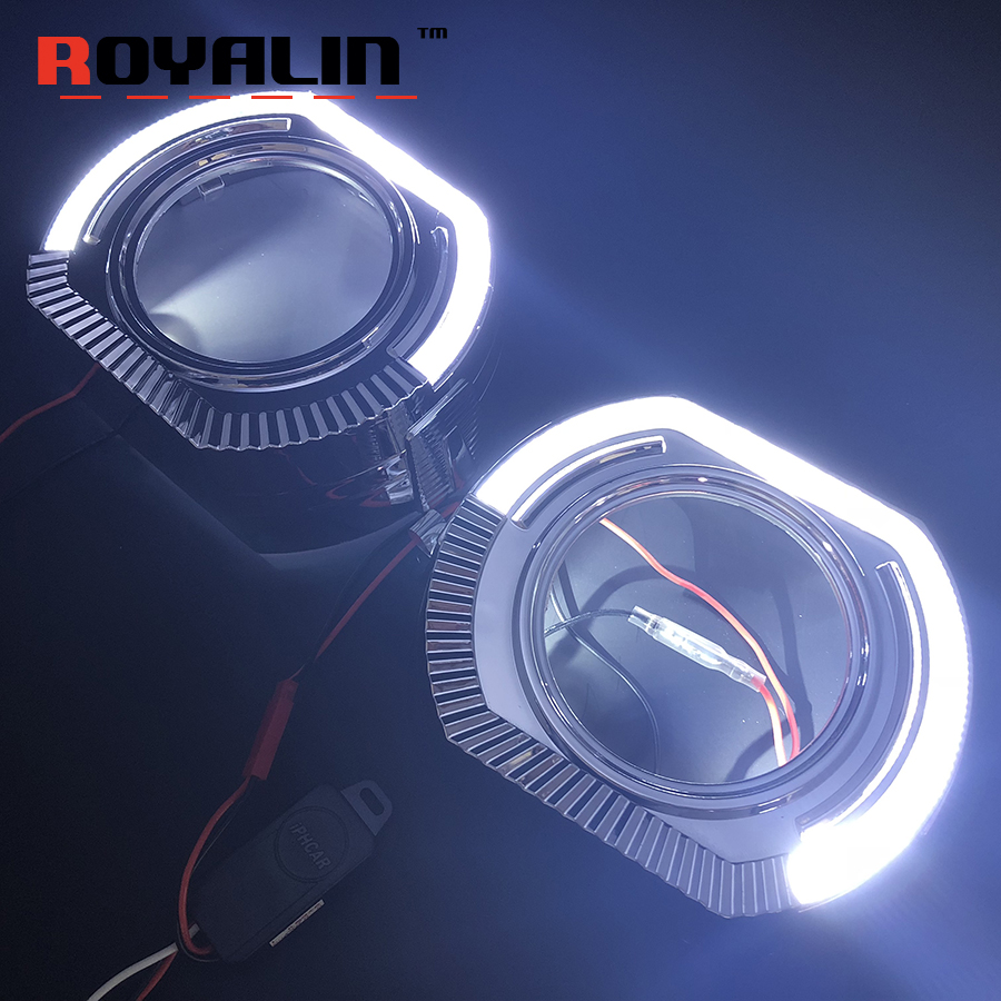 ROYALIN Car LED DRL Angel Eyes Shrouds For BMW Sports Type Halo Rings Motorcycle Headlights Night Daytime Running Light Retrofit