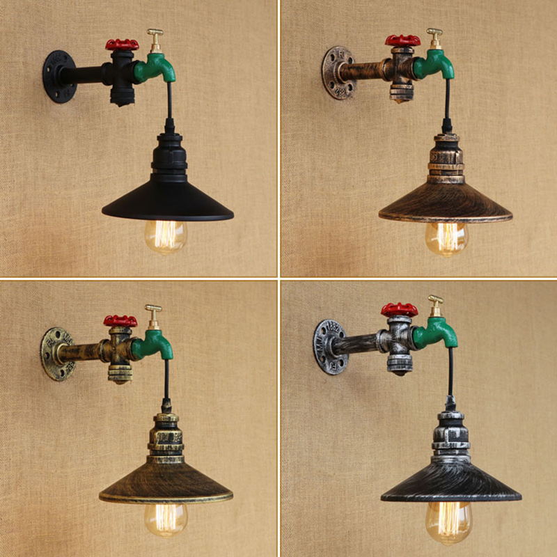 New design vintage Loft metal Water pipe wall lamp with switch lampshade for living room bedroom restaurant bar E27 110v 240v