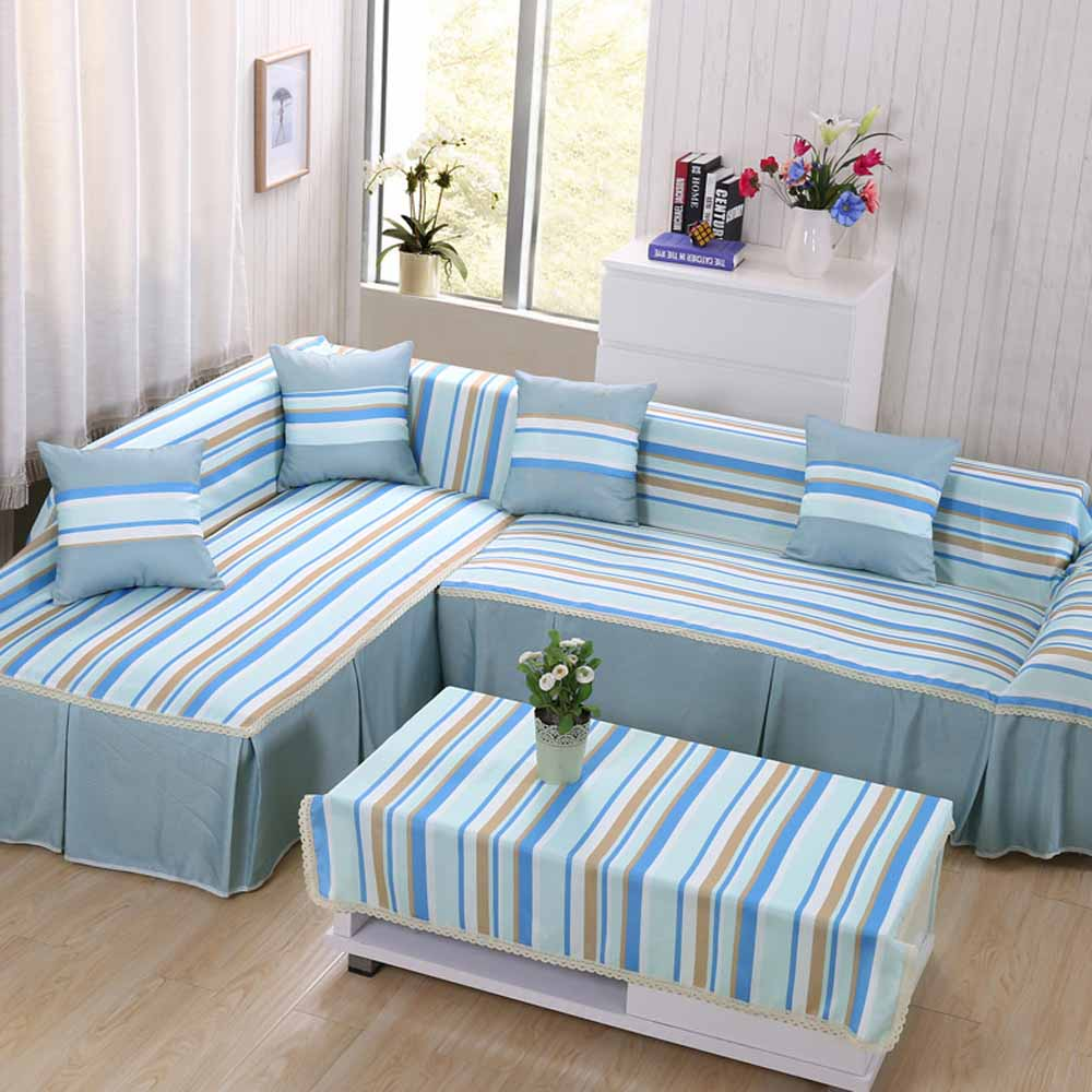 Polyester Fabric Sofa Cover Striped Printed Design Slipcovers For Drawing Room Decorate Single Double