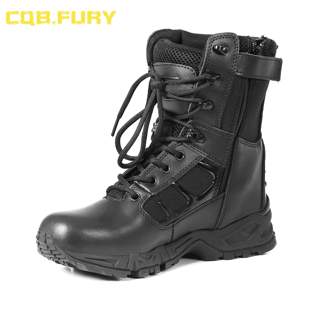 CQB FURY Leather Mens Waterproof tactical Military Boots Black Wearable zipper Combat ankle Army Boots size
