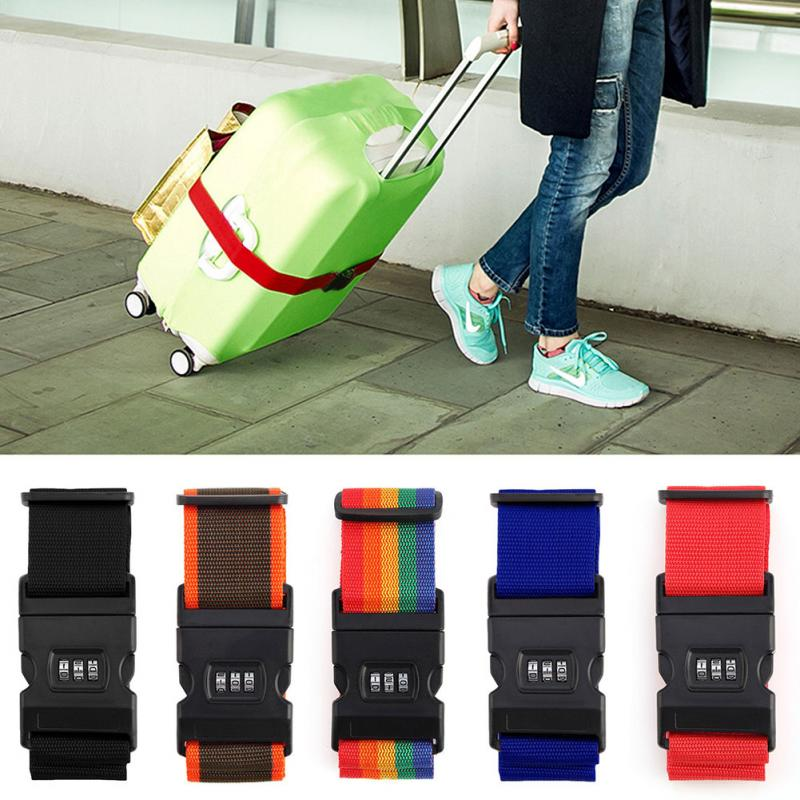 Dynamic Top Quality Luggage Strap Cross Belt Packing Adjustable Travel Suitcase Nylon 3 Digits Password Lock Buckle Strap Baggage Belts Travel Accessories