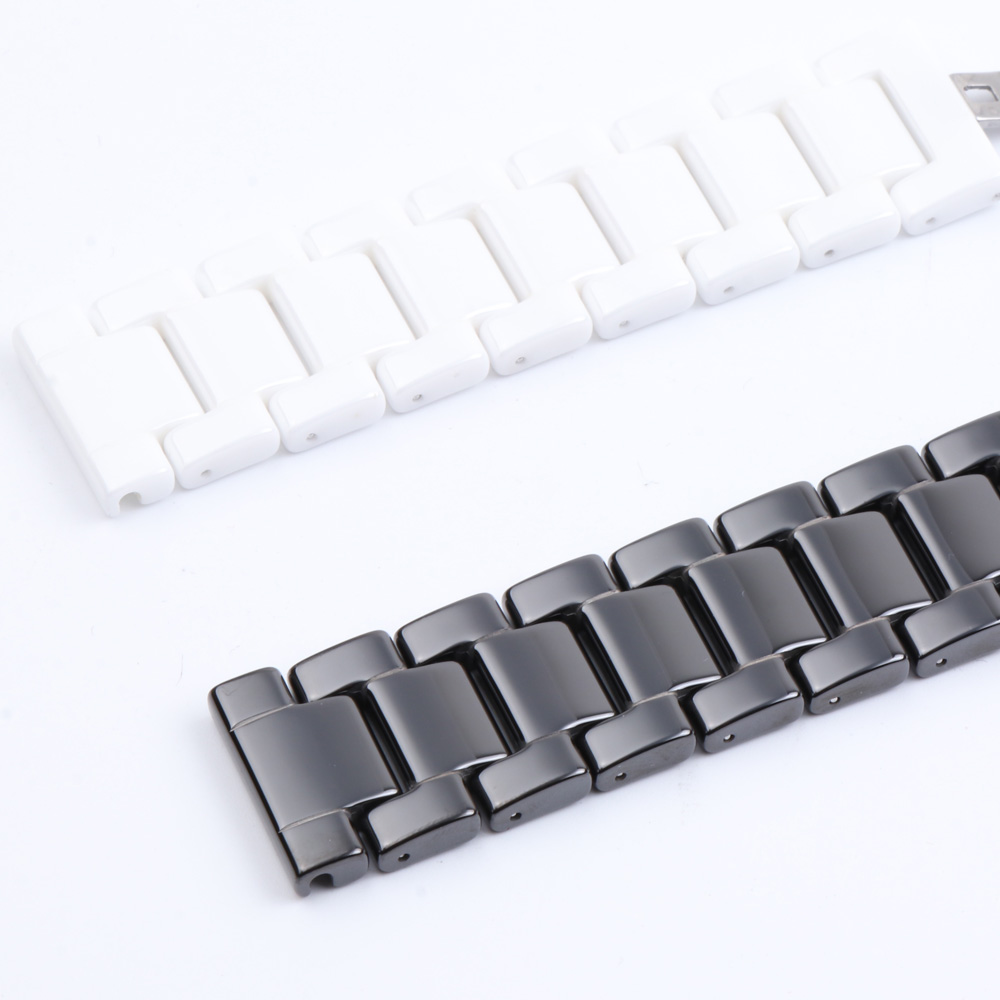 Image 5 - 12/14/16/18/20/22mm Shine for Samsung Gear S2/S3 Watchband Quality Ceramic Watch Strap Luxury Metal Bracelet for Huawei Watch 2-in Watchbands from Watches