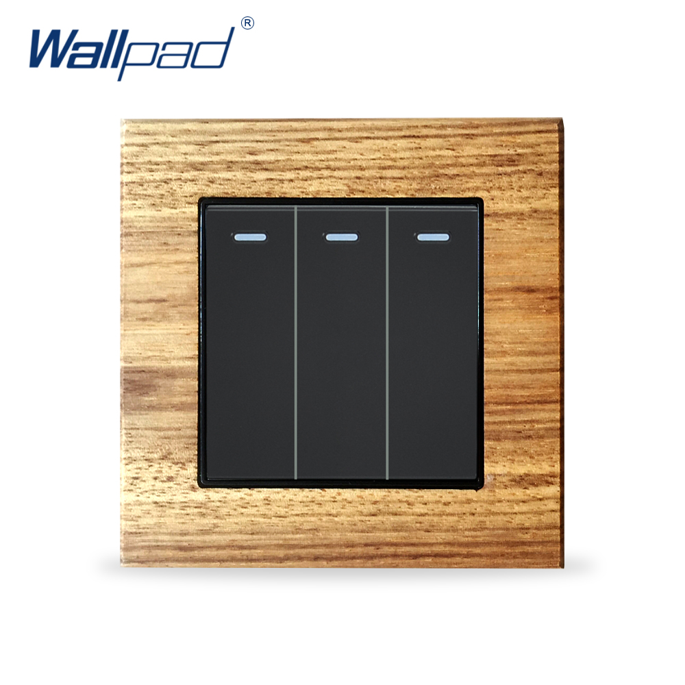 3 Gang 1 Way Wooden Panel Push Button Switches Wallpad Luxury Wall Light Switch Interrupteur lediary led lighting switch stainless steel 1 gang 2 gang 3 gang 4 gang and 1 way 2 way push button wall switches 50v 440v