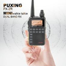 Venda quente 2w mini walkie talkie uhf 400 470 puxing PX 2R banda dupla rx com função de carregamento usb