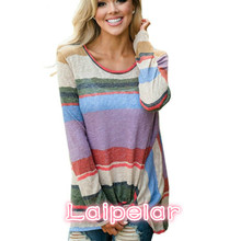 2018 New Colorful Striped T Shirt Women Tops Long Sleeve Warm Knitted Cotton Female Fashion Casual T-shirt Size S-XL Laipelar