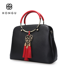 Hongu Light Luxury Genuine Leather Lady Shoulder Bag Metal Tassels Chinese Knot lady Shell Bag Women Tote handbag designer louis
