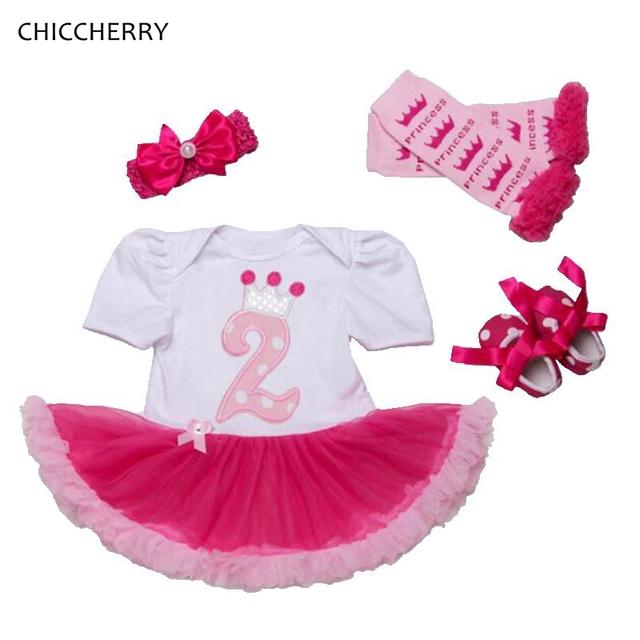 Coroa da Princesa Do Bebê Roupas de Menina Infantil Rendas Tutu Romper Headband Set 2 Anos De Aniversário Vestido de Festa Vestido De Menina Crianças Outfits