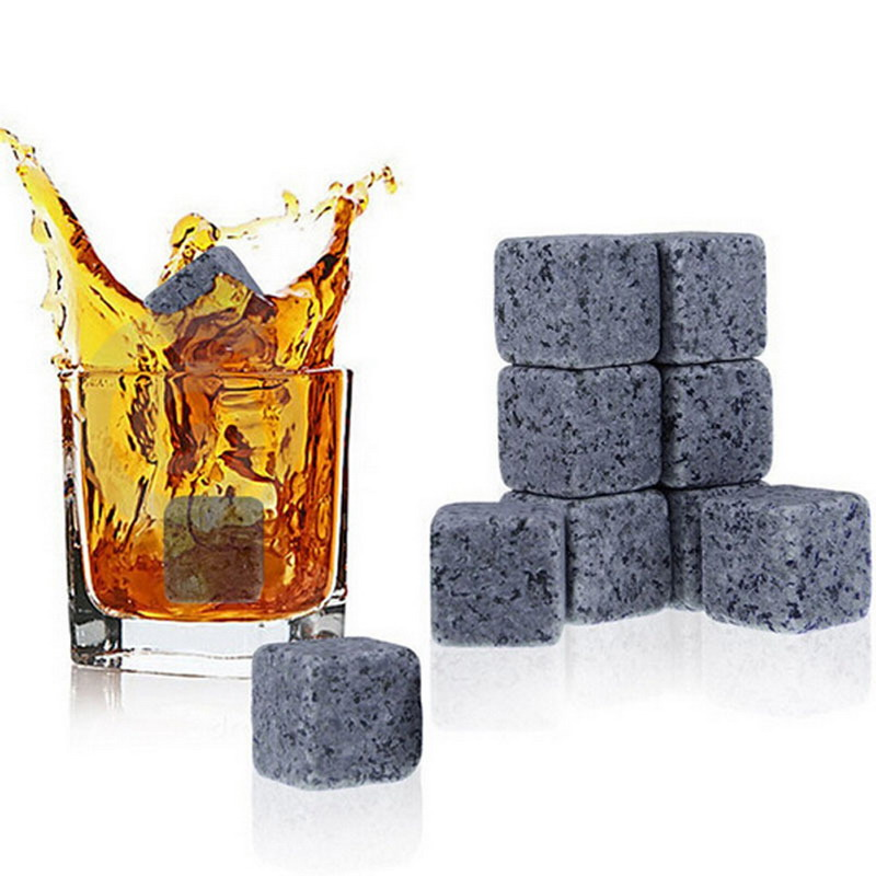 9PCS/Lot Natural Whiskey Stones New Magic Whisky Cooling Stone Ice Cubes Rocks Cold Glacier Stone Free Shipping ...