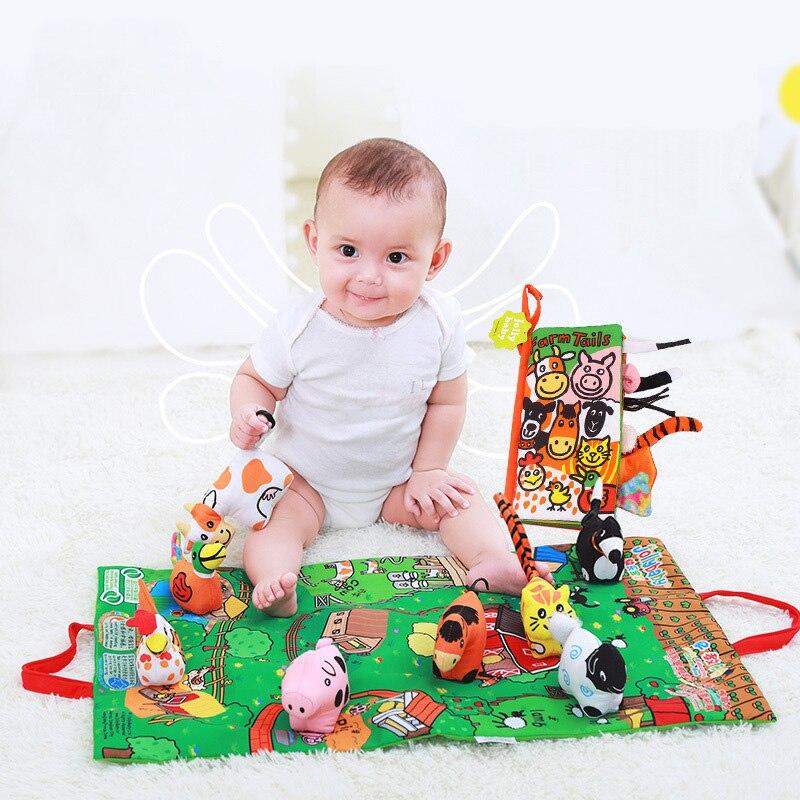 Hot infantile 3D scènes ferme poupée livre en tissu avec tapis de jeu bébé hochets début du développement éducatif histoire livre enfant cadeau