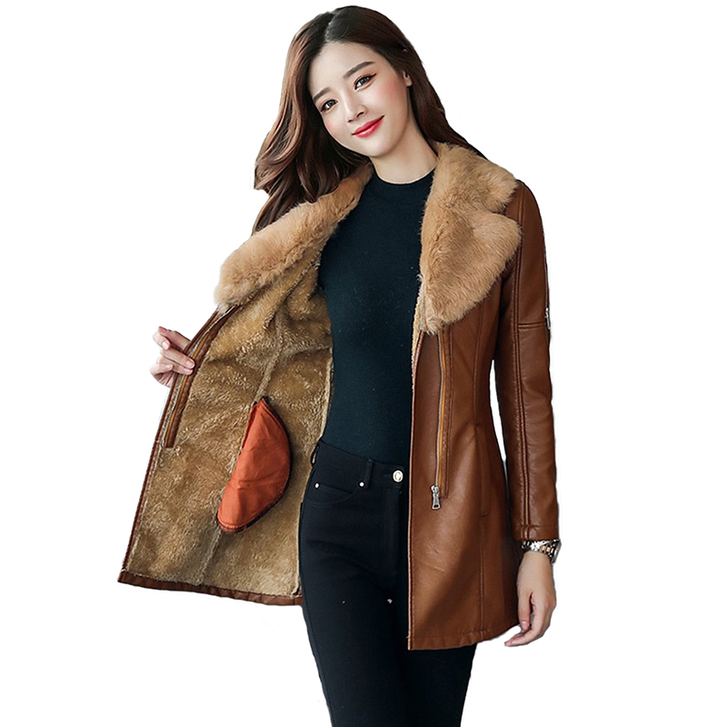 Autumn winter   leather   jacket women's Flocking Thicken warm PU   leather   coat natural fur collar Outerwear female Slim tops N252