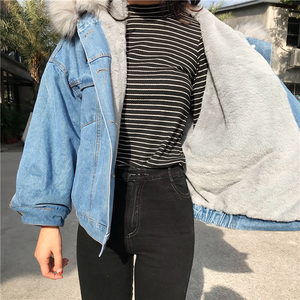 Image 2 - Big Faux Fur Collar Winter Jacket Women Oversized Batwing Sleeve Denim Jackets Wool Liner Jeans Coat Velvet Warm Jaqueta Hoodies