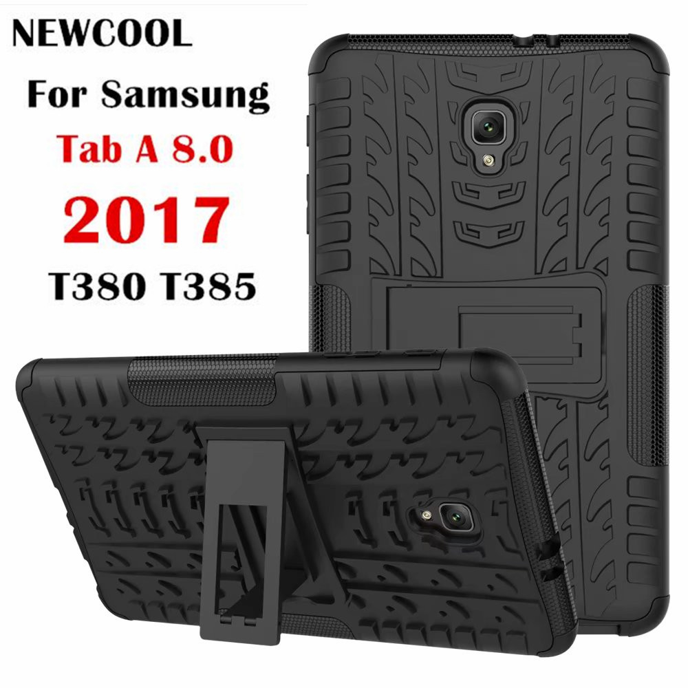 Case For Samsung Galaxy Tab A 8.0 2017 A2S T380 T385 SM-T380 Tablet Case TPU+PC Heavy Duty Armor Case Hybrid Rugged Rubber tire style tough rugged dual layer hybrid hard kickstand duty armor case for samsung galaxy tab a 10 1 2016 t580 tablet cover