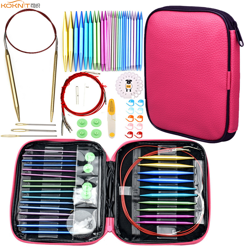 KOKNIT Aluminum Circular Knitting Needles Set 26pc Interchangeable Crochet Needles with Case for Any Crochet Patterns & Yarns