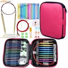 KOKNIT Aluminum Circular Knitting Needles Set 26pc Interchangeable Crochet Needles with Case for Any Crochet Patterns & Yarns