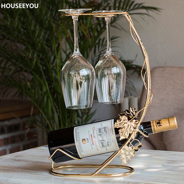 Retro Grape Vine Metal Wine Rack Bottle Holder Hanging Shelf Hanger Table Storage Barware Home Bar Decorative Accessories