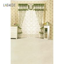 Laeacco Indoor Window Curtain Flower Backdrop Portrait Photography Background Customized Photographic Backdrops For Photo Studio
