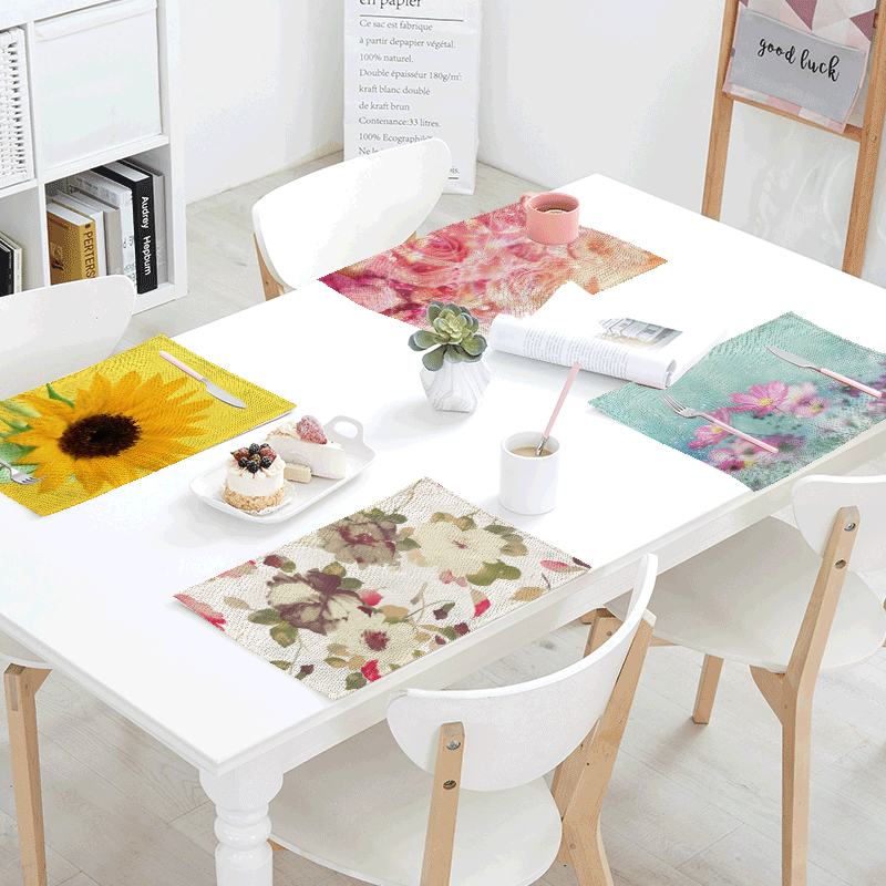 Wholesale Sunflower Print Napkin Linen Materials Rose Cherry Pattern Wedding Home Living Room Table Decorate Fashion Tablecloth
