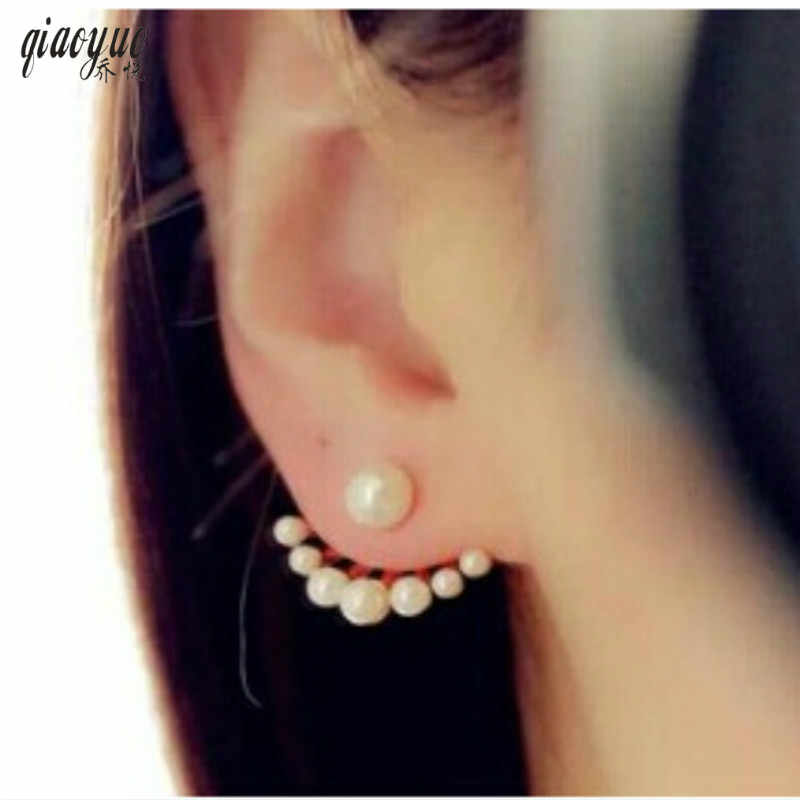 Korean jewelry fashion exquisite wild cute playful imitation pearl earrings after hanging  Women Gift Free Shipping